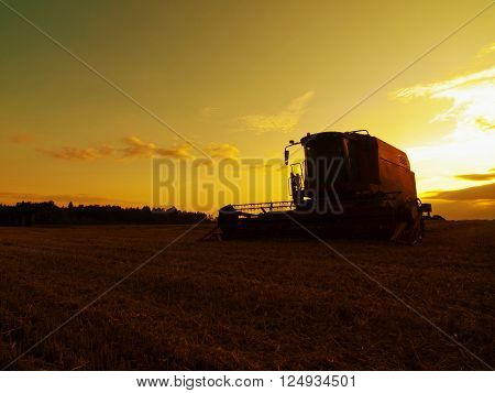 Abandoned Combine Harvest Wheat In The Middle Of A Farm Field. Morning Yellow Wheat Field On The Sun