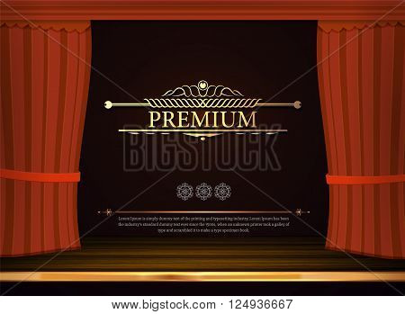 Vector red Curtains in theater or opera. Dark curtain scene gracefully. Vintage decoration and text. Elegance backdrop with gold sign