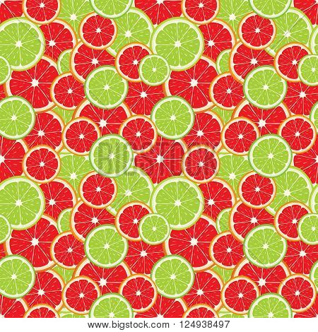 Vector seamless background of lime and grapefruit slices.