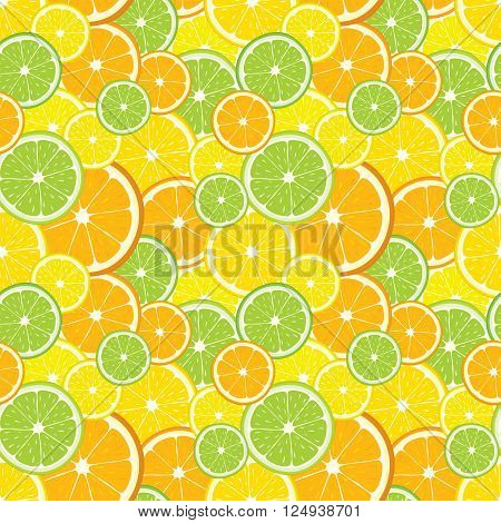 Vector seamless background with lemon, orange, lime slices.