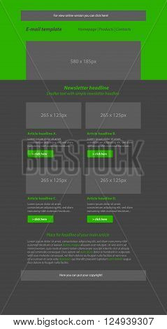 Newsletter green template with business style for organization