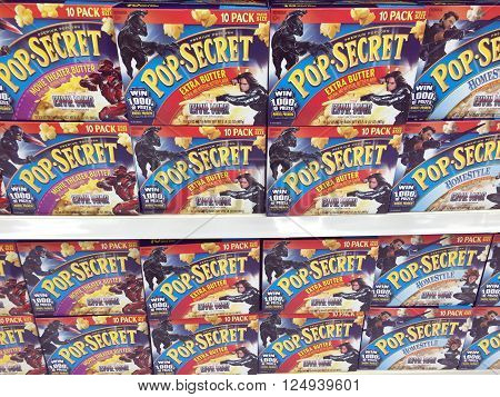 SPENCER WISCONSIN April8 2016 Several boxes of Pop Secret Popcorn on a modern grocery store shelf Pop Secret Popcorn is owned by Diamond Foods and was founded in 1984