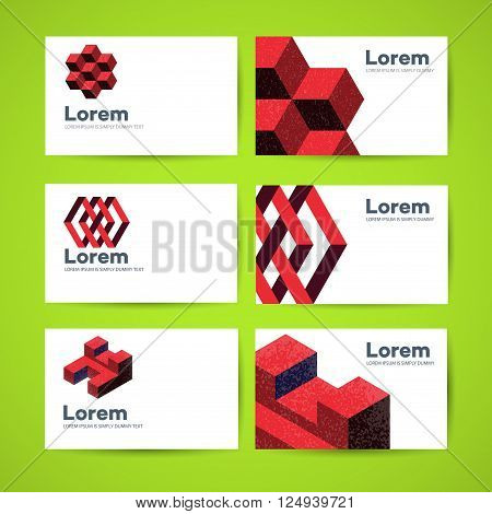 Templates of business cards with abstract design elements template design
