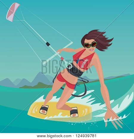 Cheerful sports girl in red swimsuit rushes standing on the kiteboard in one hand holding power kite and the other touches the water surface - Kitesurfing or extreme sport concept