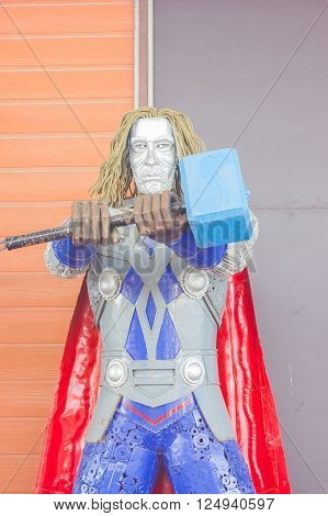 ANG THONG, THAILAND - APRIL 3 :  Thor made of remnant of iron on April 3, 2016 in Ang Thong, Thailand