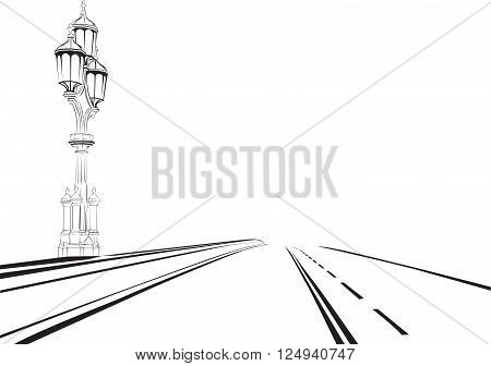 black and white sketch of highway with a lantern