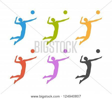 Colored vector icon volleyball. Volleyball players colored silhouette. Modern volleyball logo.