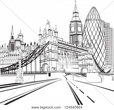 black and white sketch silhouette of London