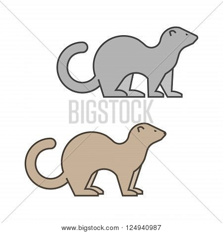 Line vector silhouette of a ferret on a white background.