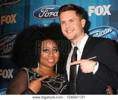 LOS ANGELES - APR 7:  La'Porsha Renae, Trent Harmon at the American Idol FINALE Arrivals at the Dolby Theater on April 7, 2016 in Los Angeles, CA