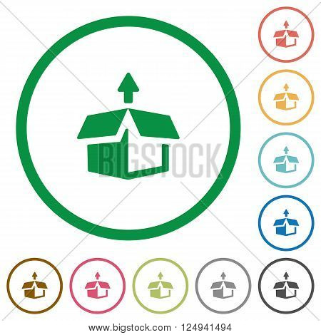 Set of unpack color round outlined flat icons on white background