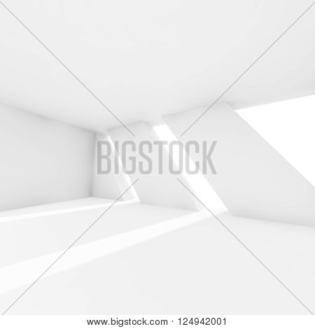 Abstract Empty 3D Interior With White Windows