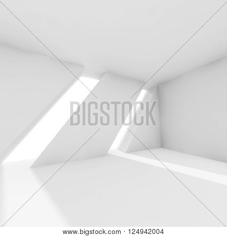Abstract Empty 3D White Interior With Windows