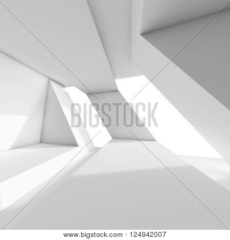 Abstract 3D White Room Interior With Windows