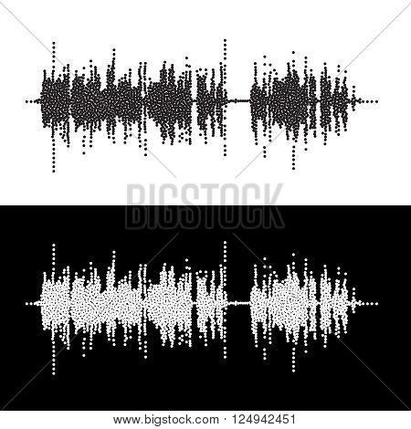 Halftone dot square vector elementsVector sound waves Music round waveform background