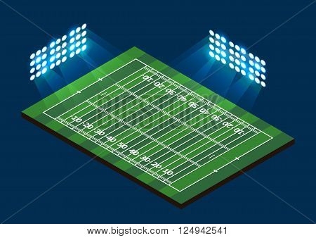American Football Field. Stadium with light. Vector illustration