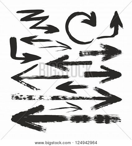 Stock vector-color arrows on white background. Texture, hard brush.