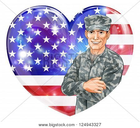 Soldier And Heart Us Flag