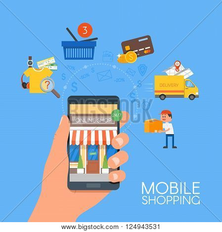 Online mobile shopping concept. Vector illustration in flat style design. Smartphone with purchase icons, bank card, shopping cart, delivery service. Payment on internet.
