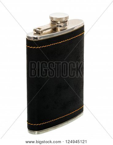 A flask for drinks with a black body under the skin , on a white background , with an offset in the side foreshortening