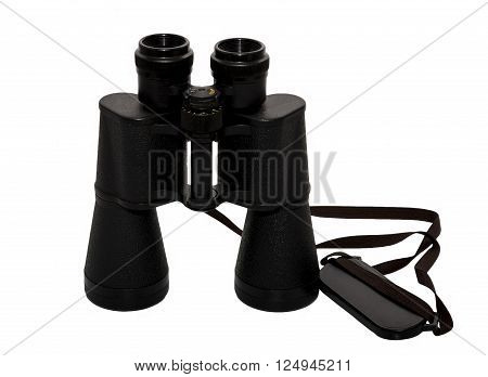 Hunting binoculars black shoulder bag on a white background , in a standing position