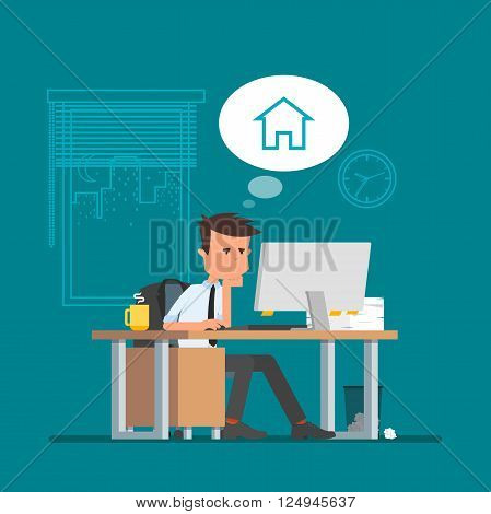 Business man working and dreaming about home. Vector illustration in flat cartoon style. Office worker in stress dreaming to go back home.