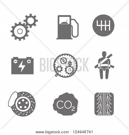 Car related icons on white background. vector illustration