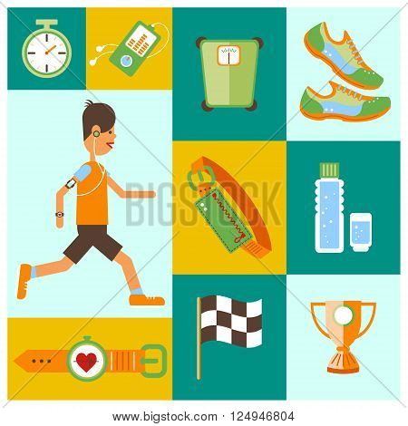 Collection of Jogging and running equipment flat icons. Isolated vector illustration and modern design element.