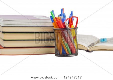 books and notebooks with handles in the bank