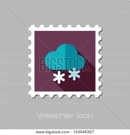 Cloud with Snow flat stamp. Meteorology. Weather. Vector illustration eps 10