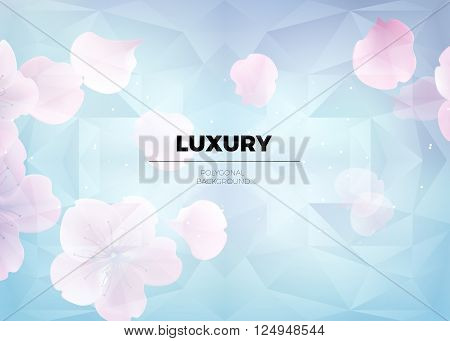 Blue blur background. abstract blured floral panoramic background blue polygonal mosaic with sakura petals and flowers. Low poly style vector soft spring illustration background