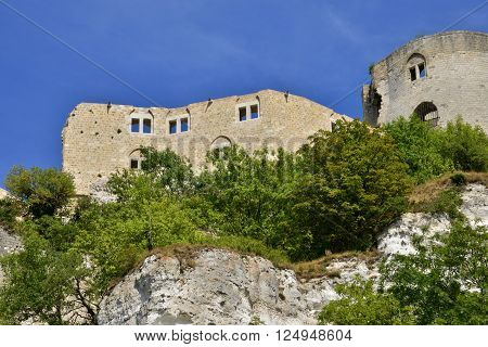 Les Andelys France - august 10 2015: Chateau Gaillard medieval castle build by the king Richard Lionheart is located 90 m above the Seine river