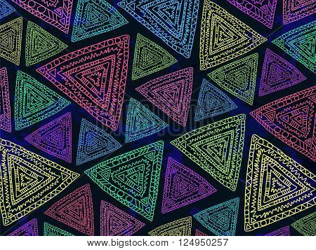 Background Triangles Abstract Ethnic Trendy Summer Colors 4