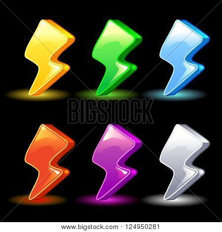 Cartoon colorful energy, lightning icon for the game, vector