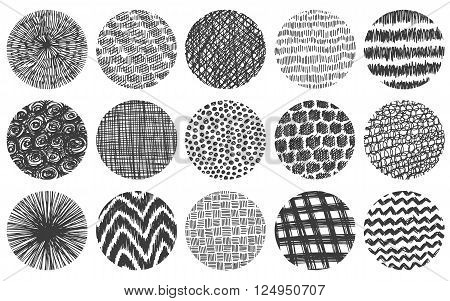 Doodle circles set. Doodles round frames vector collection. Set of simple doodle round circles with lines dots and curves. Pencil effect doodles. Set of simple doodles. Pencil effect sketch isolated on white.