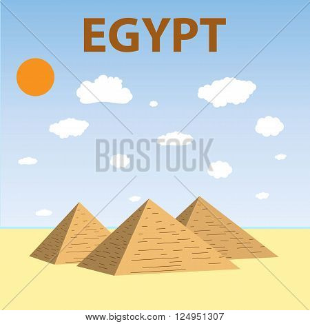 Flat design of Three Egypt pyramids vector. Pyramids Giza. Tourism. vector illustration