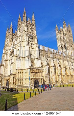 Canterbury Cathedral in Canterbury in Kent of England. It is one of the most famous cathedrals in England. It is the Archbishop of Canterbury Cathedral.