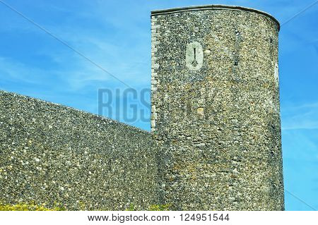 Canterbury City Wall Tower in Canterbury in Kent of England. These walls are defensive ones made of stone and built by the Romans.