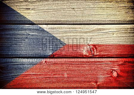 flag of the Czech Republic painted on old grungy wooden background