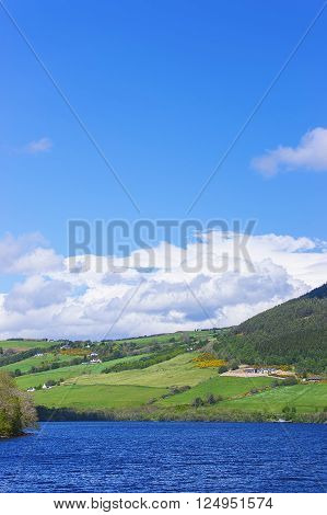 Countryside view in Loch Ness in Scotland. Loch Ness is a city in the Highlands in Scotland in the United Kingdom.