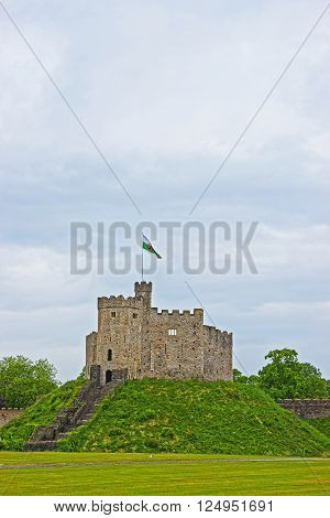 Keep Tower with a flag in Cardiff Castle in Cardiff in Wales of the United Kingdom. Cardiff is the capital of Wales.
