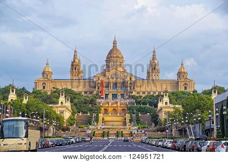 National Palace on Montjuic hill in Barcelona in Spain. Now it serves as the National Art Museum of Catalonia. It is placed at the foot of Montjuic mountain