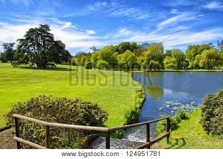 Pond near Leeds Castle in Kent in England.