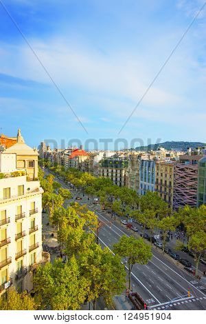 Street View to Avinguda Diagonal in Barcelona. Barcelona is the capital of Spain. Avinguda Diagonal is the name of many famous avenues in the center of Barcelona.