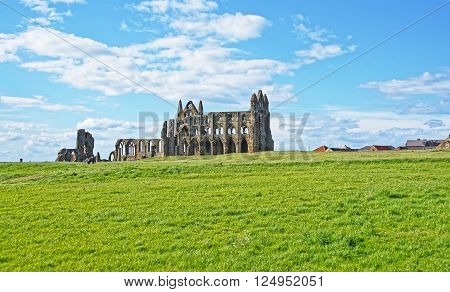 Whitby Abbey in North Yorkshire in England. It is ruins of the Benedictine abbey. Now it is under protection of the English Heritage.