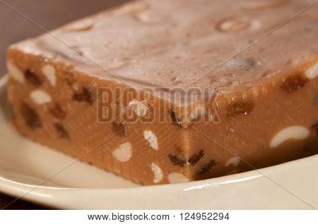 Sherbet with raisins and peanut close up shot