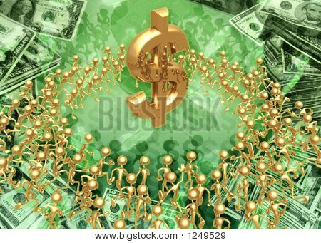3D Crowd Sourcing Concept With Dollar Symbol