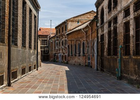 Old Foundry Buildings Exterior In Murano Street Isle Near Venice, Italy
