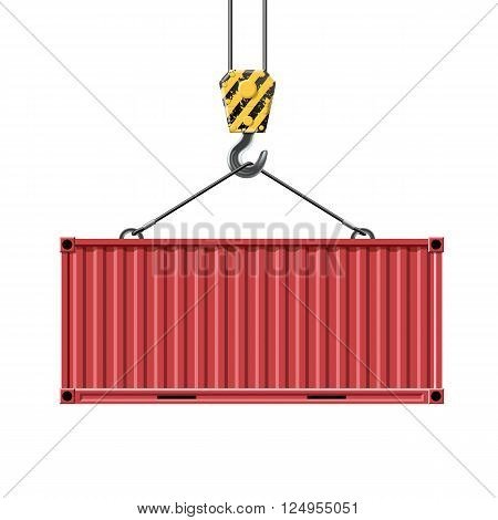 Crane hook lifts the metal container. Transportation of cargo. Isolated on white background. Stock vector illustration.