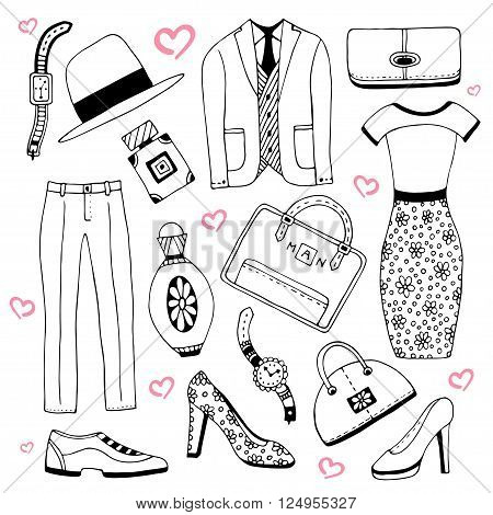 Fashion clothes and accessories set. Summer fashion doodles collection. Vector sketch icons for man and woman beauty design